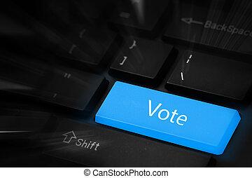 投票, 青, ボタン, キーボード