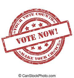 投票, now., ゴム製 スタンプ, グランジ, 円