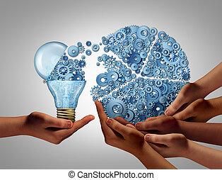 投資, グループ, 考え, ビジネス