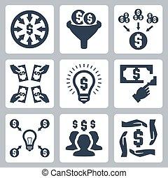 投資, セット, ベクトル, crowdfunding, アイコン