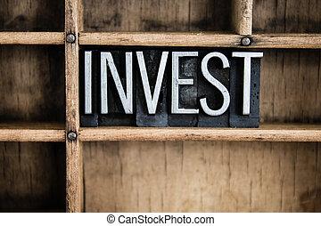 投資, 概念, 金屬, letterpress, 詞, 在, 抽屜