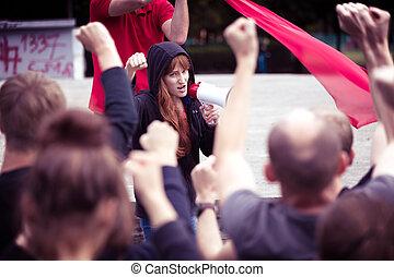 抗議する, 群集, に対して, 政府