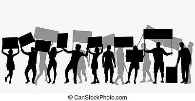 抗議, 人們, 人群, silhouette.
