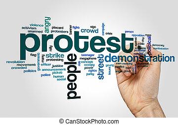 抗議, 単語, 雲, 概念