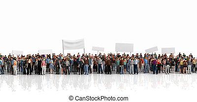 抗議, ......的, 人群。, 大, 人群, ......的, 人們, 停留, 上, a, 線, 上, the, 白色, 背景。