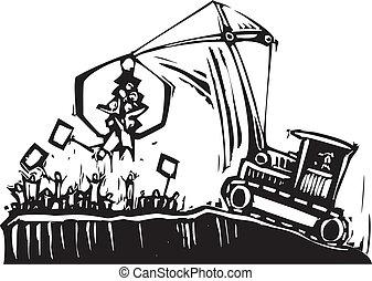 抗議, 起重機