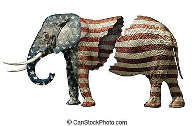 折られる, 共和党員, 象
