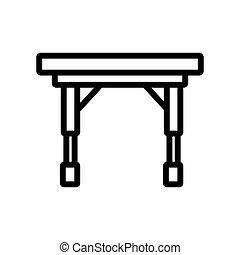 折りたたみ, キャスター, ベクトル, ポータブル, テーブル, アイコン, アウトライン, イラスト