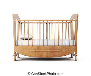 折畳み式ベッド, バックグラウンド。, 隔離された, ベッド, レンダリング, 白, 3d