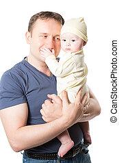 抱きしめること, 使用, 概念, 愛, 子育て, 白, 父, 隔離された, それ, バックグラウンド。, 女の赤ん坊, 子供, ∥あるいは∥, 幸せ