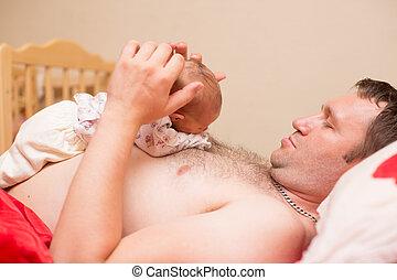 抱きしめること, 使用, 概念, 愛, home., 父, それ, 新生, 子育て, 女の赤ん坊, 子供, ∥あるいは∥