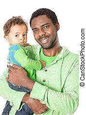 抱きしめること, 男の子, 使用, 概念, 愛, 父, 隔離された, それ, 子育て, 黒い背景, 赤ん坊, 白, 子供, ∥あるいは∥, 幸せ