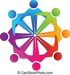 抱き合う, チームワーク, 人々, ロゴ