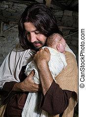 抱き合う, ヨセフ, イエス・キリスト, 赤ん坊
