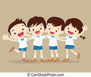 抱き合う, 幸せな微笑すること, 生徒