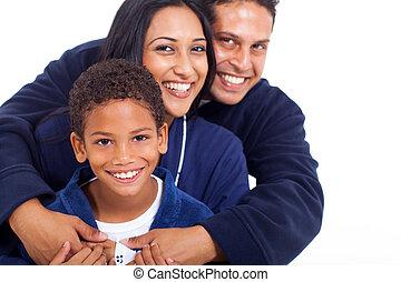 抱き合う, indian, パジャマ, 若い 家族