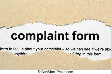 抱怨, 形式