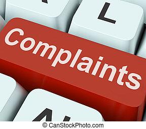 抱怨, 鑰匙, 顯示, 抱怨, 或者, 呻吟, 在網上