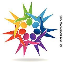 抱擁, カラフルである, 人々, チームワーク, ロゴ, icon.