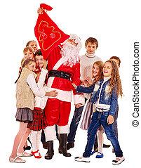 抱擁, グループ, santa, 子供, claus.