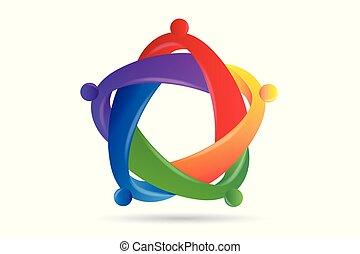 抱擁, 人々, 助力, 統一, チームワーク, ロゴ, 友情