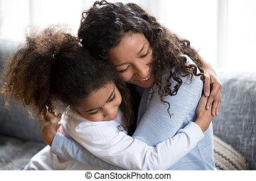 抱擁, 娘, 平和, アメリカ人, お母さん, アフリカ, 作成, 幸せ