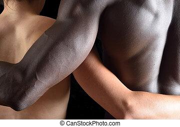 抱擁, 恋人, 背景, interracial, 黒