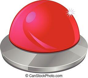 押しボタン, ベクトル, 赤, アイコン