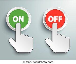 押しボタン, 離れて, クリック, 手