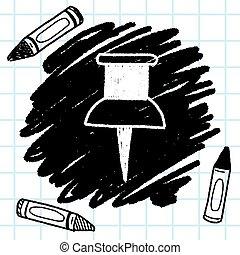 押し, いたずら書き, デッサン pin