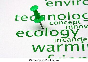 押し, エコロジー, 単語, 雲, ピン