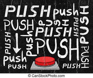 押し, ボタン, メッセージ
