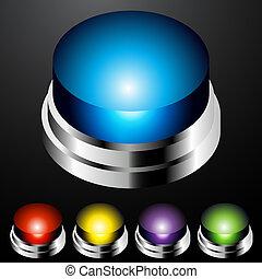 押し, ライト, ボタン, セット