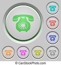 押し, 型, 電話, レトロ, ボタン