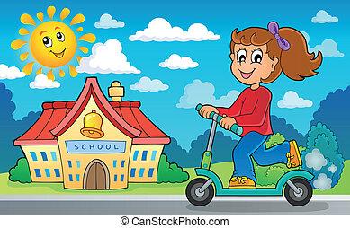 押し, 学校, スクーター, 女の子