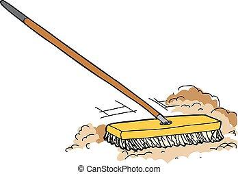 押し, 掃除, ほうき, 漫画