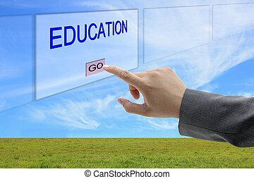 押し, 教育, 人, 手