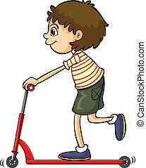 押し, 男の子, 自転車, 遊び