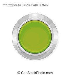 押し, 緑, button.
