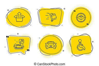 押し, 追跡, set., カート, アイコン, 送りなさい, 不具, ベクトル, サービス, signs., 小包, 自動車, 箱