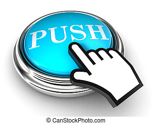 押し, 青, ボタン, そして, ポインター, 手