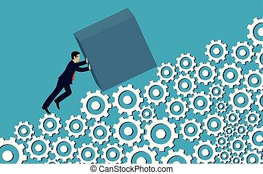 押し, growth., 行きなさい, 財政, 前方へ, ベクトル, 創造的, 成功, ギヤ, ビジネス, ビジネスマン, leadership., ladder., 坂, ゴール, 努力, idea., ターゲット, の上, イラスト, コンクリート