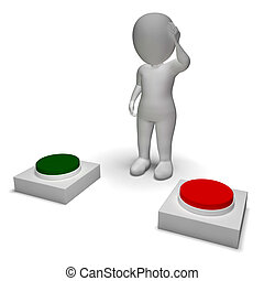 押す, 特徴, 優柔不断, 選択, ボタン, 3d, ショー