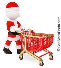押す, 買い物, 空, 3d, claus, 白, 人々。, santa, カート