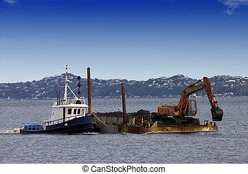 押す, dredging, ボート, てんま船, 引っ張りなさい