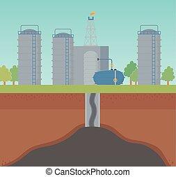 抽出, プロセス, オイル, 工場, fracking