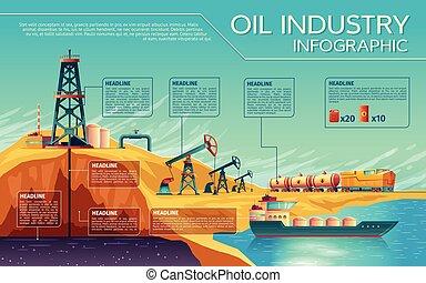 抽出, 産業, ベクトル, オイル, infographics