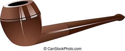 抽煙, 布朗, 管子, 上, 被隔离, 白色, 背景。, 矢量, 插圖