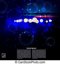 抽象概念, glare., 明るい, ベクトル, 黒い背景, illustrat