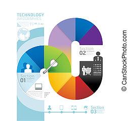 抽象的な形, infographic, デザイン, 技術, スタイル, レイアウト, /, テンプレート, infographics, 円, 最小である, ウェブサイト, ありなさい, 使われた, 横, 切抜き, 番号を付けられる, グラフィック, ライン, ベクトル, 缶, 旗, ∥あるいは∥